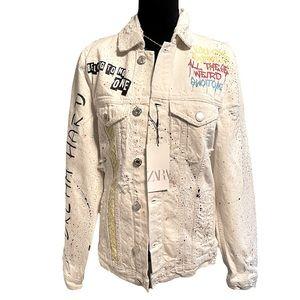 Zara White Denim Jacket Size Small Graffiti Rare